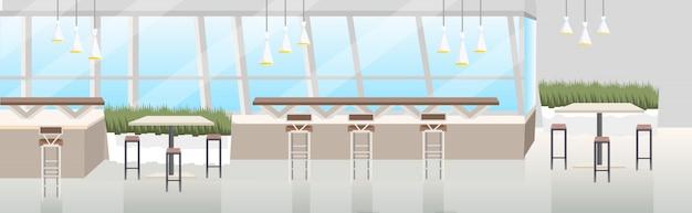 Interior moderno café vazio restaurante sem pessoas com banner horizontal plana de móveis