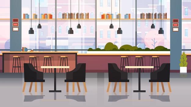 Interior moderno café vazio restaurante sem pessoas com móveis ponto de café gordo
