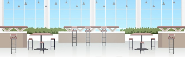 Interior moderno café vazio sem restaurante de pessoas com móveis
