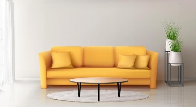 Interior moderno com sofá amarelo