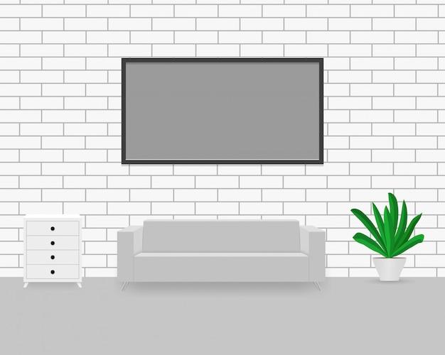 Interior moderno com sofá