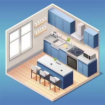 Interior moderno da cozinha azul com móveis e eletrodomésticos em estilo isométrico