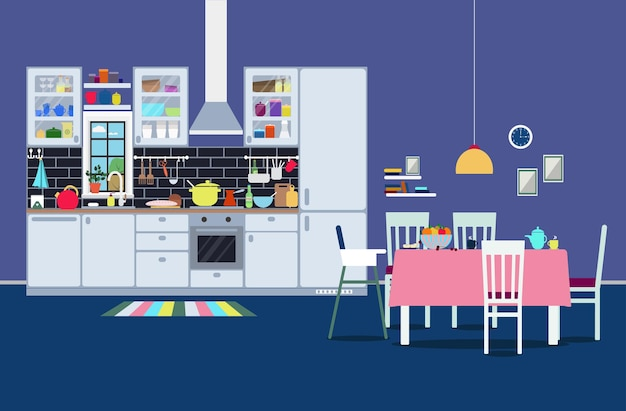 Interior moderno da cozinha com armários, aparelhos, área para refeições, etc.