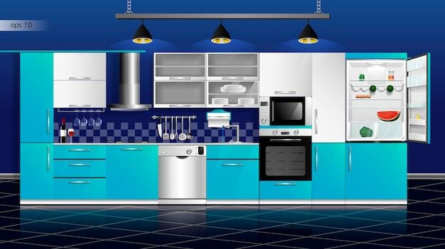Interior moderno da cozinha em azul e branco ilustração vetorial aparelhos domésticos de cozinha