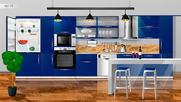 Interior moderno da cozinha em azul profundo ilustração vetorial aparelhos domésticos de cozinha