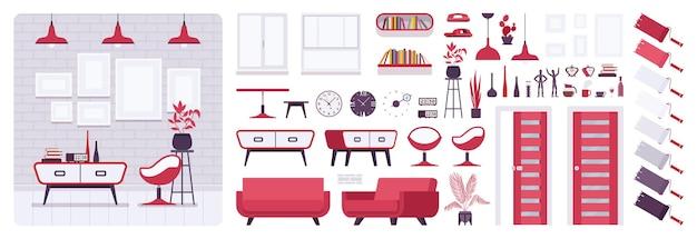 Interior moderno da sala de estar, casa, conjunto de criação de escritório