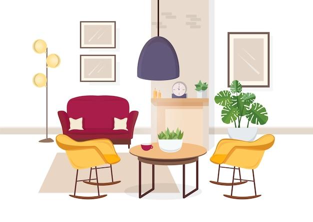 Interior moderno da sala de estar com móveis confortáveis e decorações caseiras da moda - sofá, poltronas, carpete, mesa de centro, plantas da casa, abajur, lareira