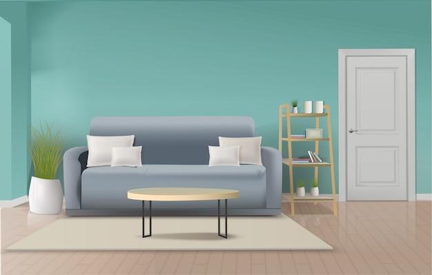 Interior moderno da sala de estar com móveis