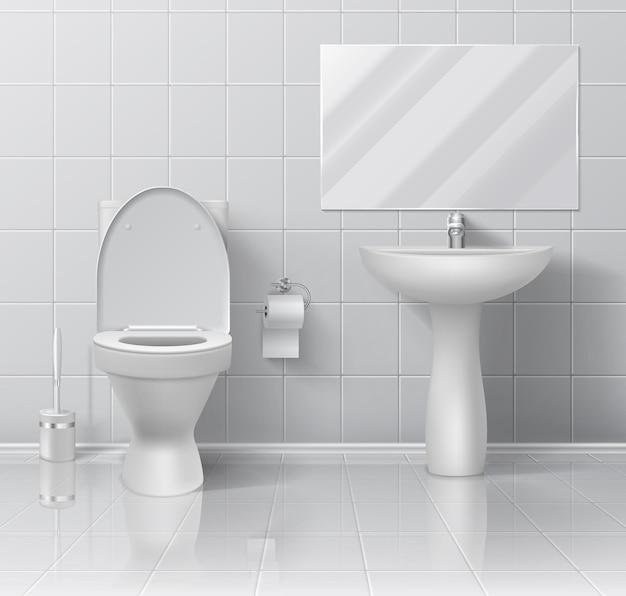 Interior moderno de banheiro 3d com pia de parede de cerâmica branca, pia de papel higiênico e escova