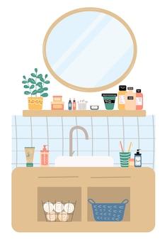 Interior moderno de banheiro com pia com espelho, prateleiras de mesa cosméticos para cabelos do rosto e cuidados com o corpo