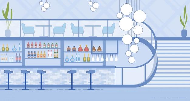 Interior moderno de boate com bar e escadaria