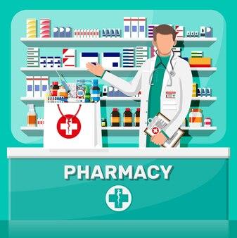 Interior moderno de farmácia e farmacêutico masculino
