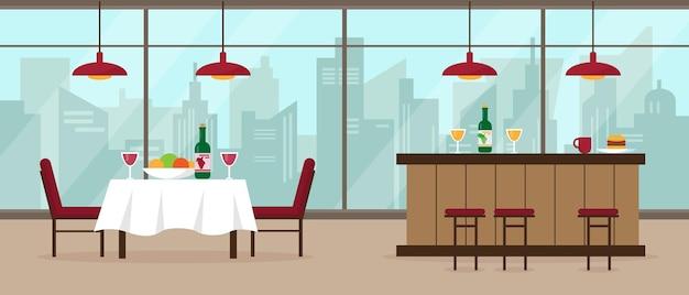 Interior moderno de restaurante e bar com grande janela panorâmica e vista da cidade