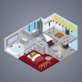 Interior moderno do apartamento duplex