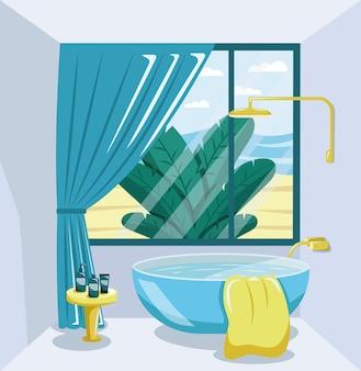 Interior moderno do banheiro com janela grande