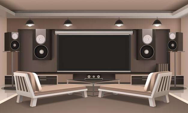 Interior moderno do cinema em casa