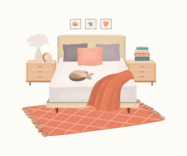 Interior moderno do quarto com cama e tapete