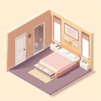 Interior moderno do quarto com móveis em estilo isométrico
