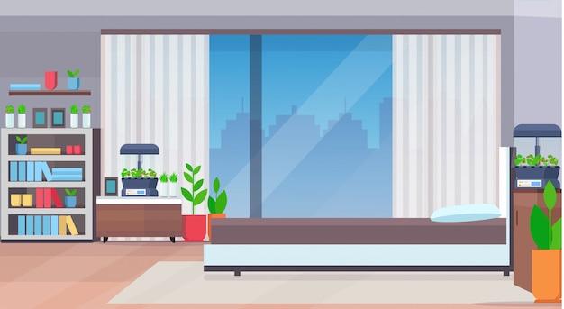 Interior moderno do quarto do apartamento com plantas de casa de recipiente de vidro de terrário eletrônico doméstico crescendo conceito plana horizontal