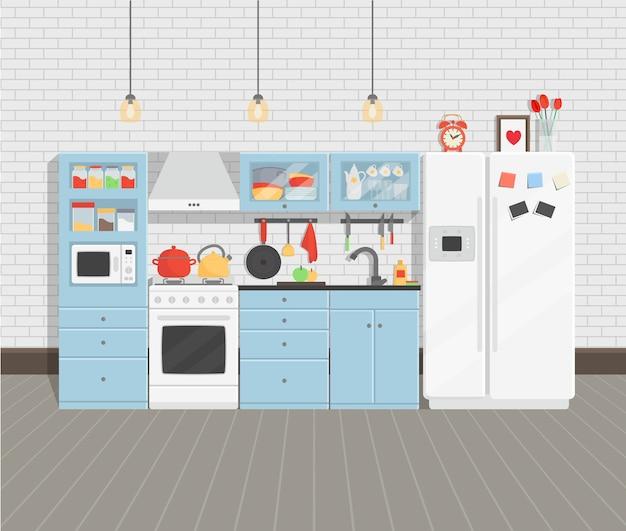 Interior moderno e aconchegante de cozinha com geladeira