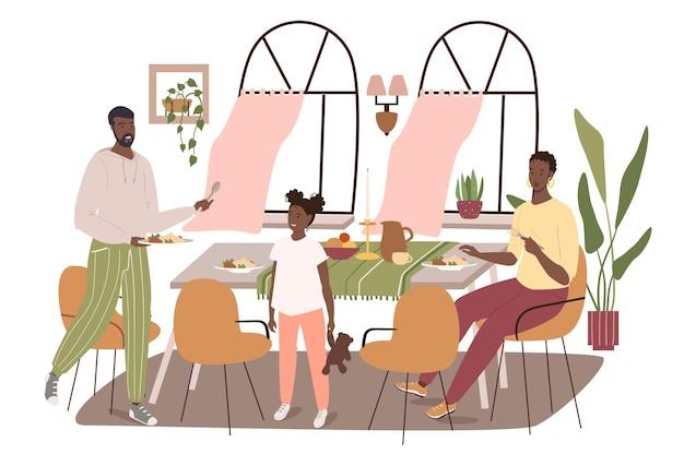 Interior moderno e confortável do conceito de web da sala de jantar. família jantando sentada à mesa em uma sala com grandes janelas