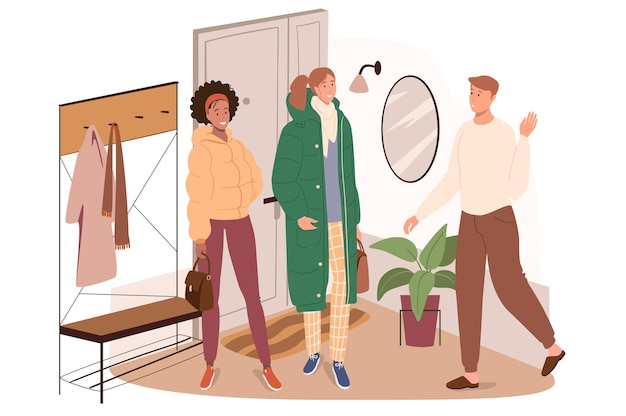 Interior moderno e confortável do conceito de web do quarto de corredor. o homem convida as mulheres a virem. corredor com roupas, móveis e decoração