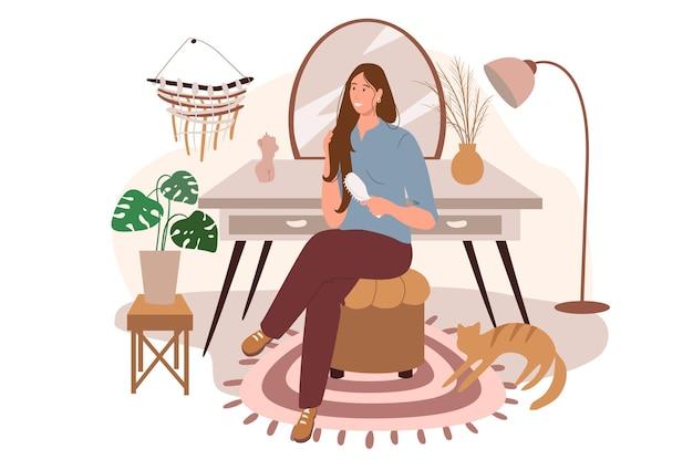 Interior moderno e confortável do conceito de web do quarto. mulher penteando o cabelo sentada à penteadeira, quarto aconchegante com decoração e plantas