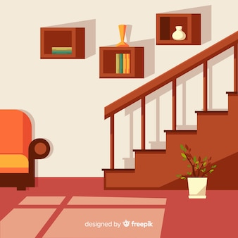Interior moderno em casa com design plano