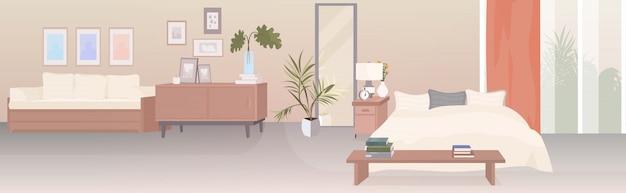Interior moderno quarto vazio sem pessoas casa sala com móveis horizontais