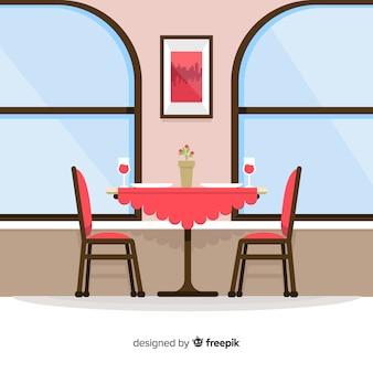 Interior moderno restaurante com design plano