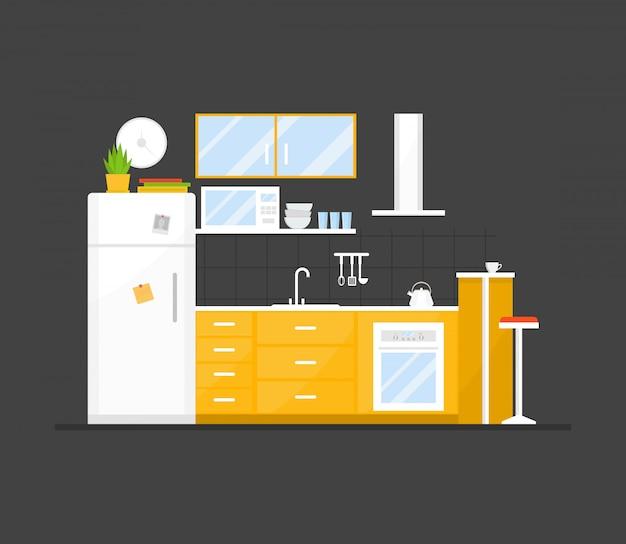 Interior pequena cozinha aconchegante com móveis e fogão, pratos, geladeira e utensílios.