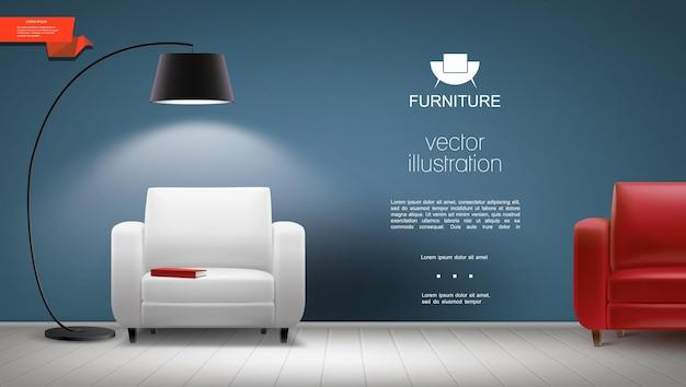 Interior realista da sala com luminária brilhante e poltronas de couro branco e vermelho