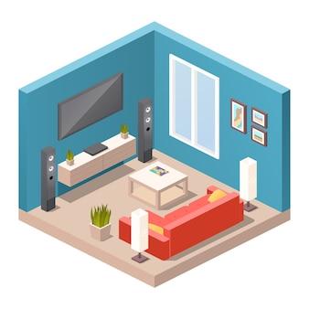 Interior realista da sala de estar. mobiliário moderno, conceito de apartamento ou casa. vista isométrica da sala, sofá, lâmpadas de piso, mesa de centro, home theater, tv de tela, plantas em vaso, decoração