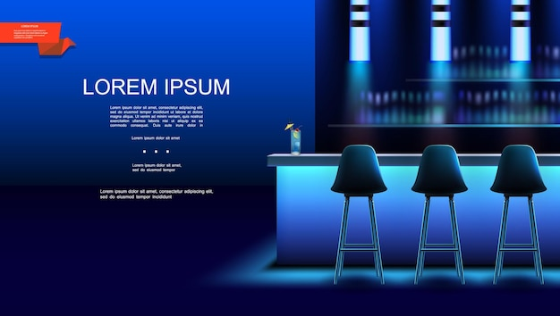 Interior realista de bar noturno com coquetéis de cadeiras no balcão e garrafas de bebidas alcoólicas nas prateleiras