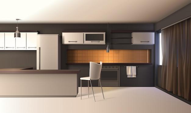 Interior realista de cozinha moderna