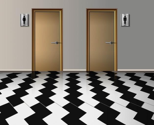 Interior realista do banheiro público da entrada de homem e mulher com portas de madeira e com piso lavrado corredor