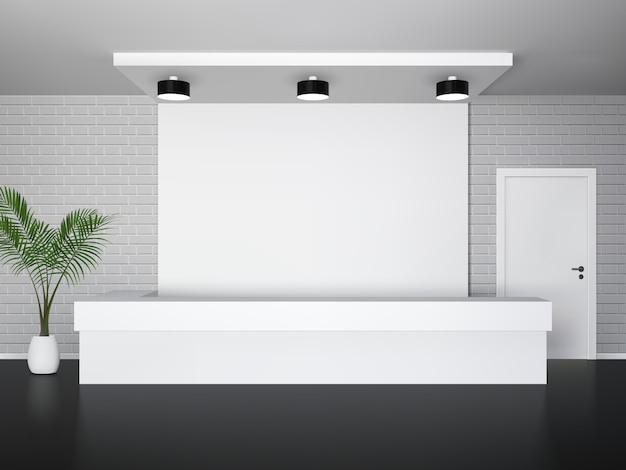 Interior recepção, com, coqueiro, escrivaninha dianteira, e, porta branca