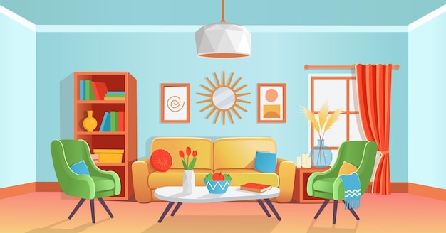 Interior retro aconchegante de sala de estar colorida com sofá, poltronas, mesa, prateleira, janela, vaso, lustre, pinturas, espelho.