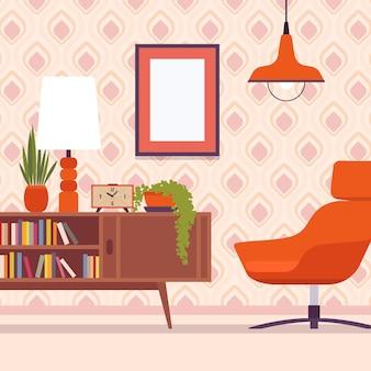 Interior retrô com cadeira, molduras para copyspace e maquete