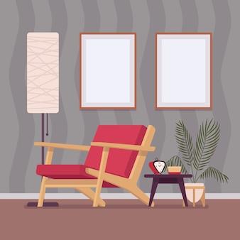 Interior retrô com dois quadros de parede para espaço de cópia