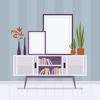 Interior retrô com dois quadros para copyspace