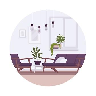 Interior retrô com lâmpadas, sofá, poltrona, plantas