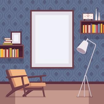 Interior retrô com moldura de parede grande para espaço de cópia