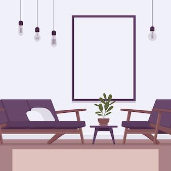 Interior retrô com uma moldura de parede para copyspace