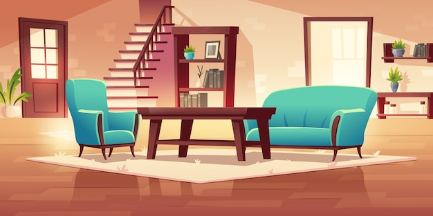 Interior rústico do corredor da casa com escadas de madeira e móveis, mesa de centro, estante, estante, sofá e poltrona com vasos de plantas