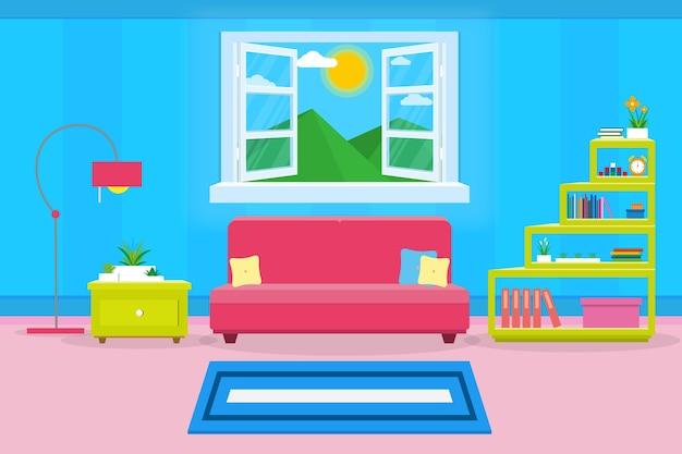 Interior sala de estar moderna aconchegante e luxuoso estilo
