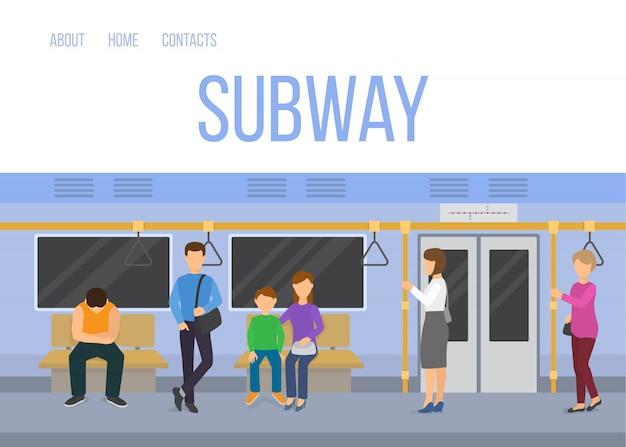 Interior subterrâneo do carro de trem do metro com os passageiros de comutação que sentam a ilustração ereta do vetor. modelo de web de metrô nas cores azuis.