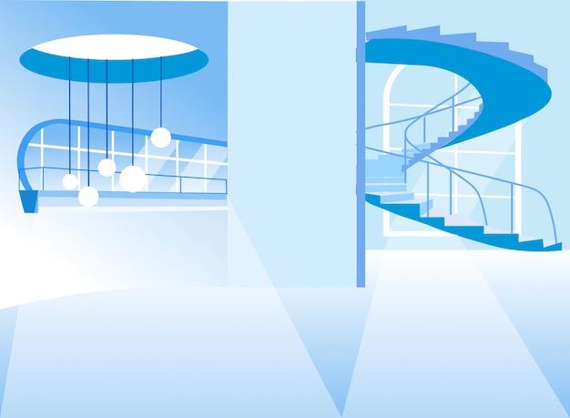 Interior vazio com escada em espiral subindo