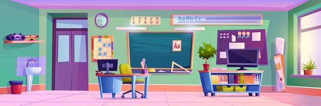 Interior vazio da sala de aula com móveis e decoração