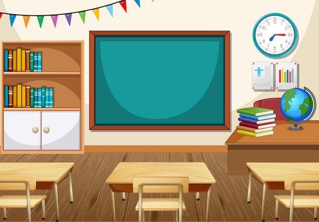 Interior vazio da sala de aula com quadro-negro